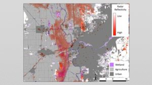 Radar reflectivity depicting the average densities of waterfowl gathered in agricultural fields and wetlands during the winter of 2014-15 near Sacramento, California.