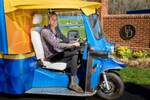 Elena Delle Donne designs shelving for UD's tuk tuk mobile lab