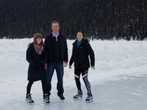 "Casey Johnson, Dr. Ryan Arsenault, Bridget Aylward skating on Lake Louise, in Alberta, Canada during a break at the Keystone Symposium ""Pattern Recognition Signaling: From Innate Immunity to Inflammatory Disease"" in Banff, Canada in March."